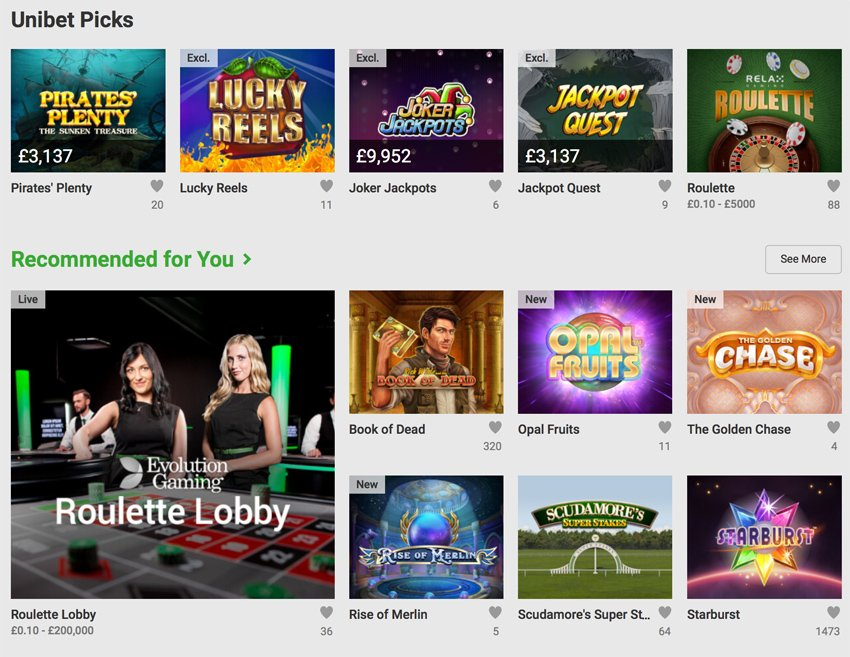 Unibet slot games and categories