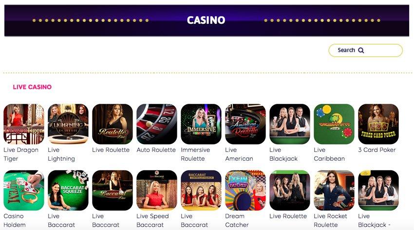 Wink Slots live casino games