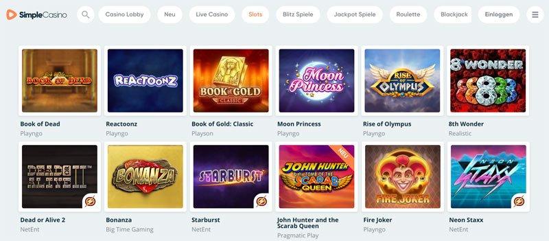 Der beliebtesten Slots und Kategorien